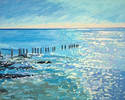 Sparkling Sea by Leila Barton - Original Painting on Box Canvas sized 39x32 inches. Available from Whitewall Galleries